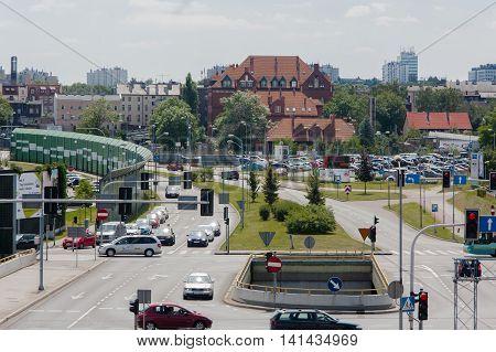 Katowice, Poland - July 10, 2016: Crossing the street Avenue Rozdzienskiego Jerzy Duda - Gracza in Katowice