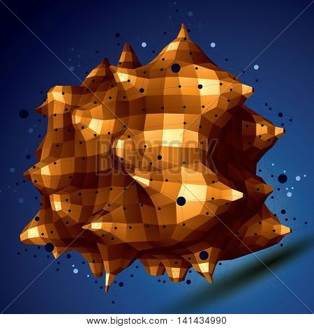 3D Mesh Modern Stylish Abstract Construction, Golden Origami Facet Object Constructed From Different