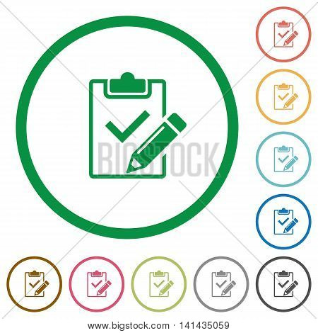 Set of Fill out checklist color round outlined flat icons on white background