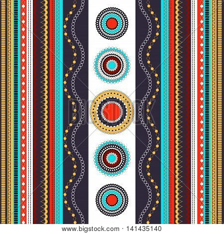 Ethnic Boho Seamless Pattern. Colorful Border Background Texture.