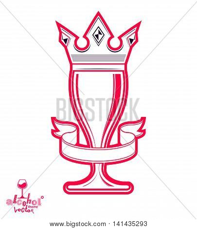 Monarch wineglass with decorative crown royal theme vector symbol isolated on white background.