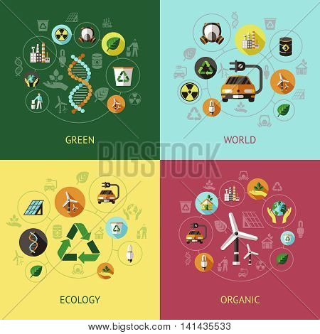 Four square ecology colored compositions with green world ecology organic descriptions vector illustration