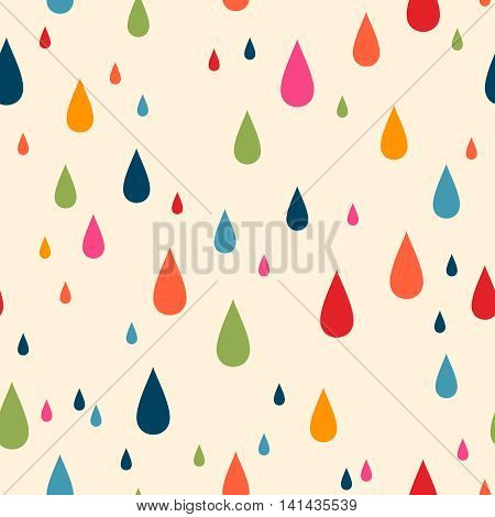 Vector seamless pattern for web design, prints etc. Modern stylish texture. Repeating background with varicolored drops can be copied without any seams. Children theme.