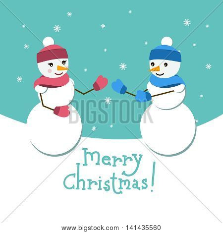 Snowman and his girlfriend vector card with Merry Christmas lettering. Happy couple on winter background with snowflakes. Vector design illustration. Santa helper. New Year theme.