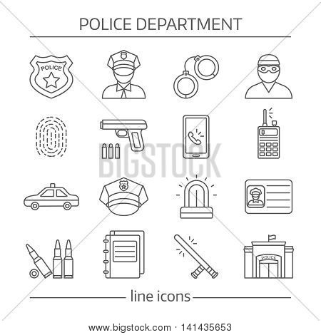 Police department linear icons set with building officer and criminal professional equipment and documents isolated vector illustration