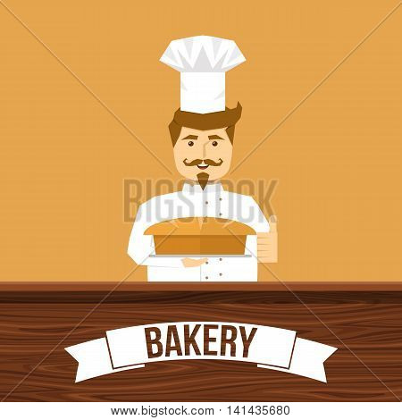 Baker and bread design with smiling man behind wooden counter on tan background vector illustration
