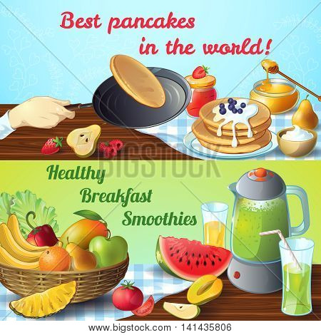 Two breakfast colored conceptswith titles best pancakes and healthy breakfast smoothies vector illustration
