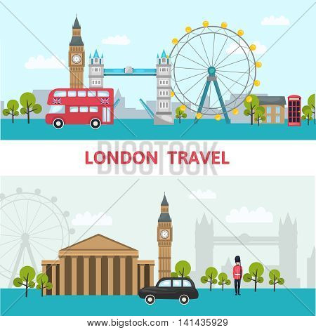 London city skyline poster with headline London travel and sights of the city vector illustration
