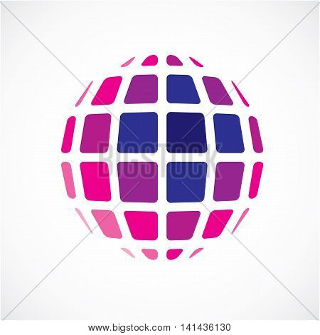 3D Vector Digital Spherical Object Made Using Square Facets. Low Poly Shape, Purple Polygonal Globe,