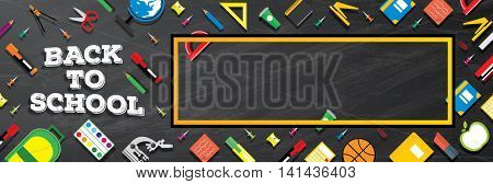 Back to school. School supplies on blackboard background. Banner with Copy Space.