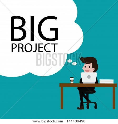 Business thinking big project idea.Vector business cartoon concept.