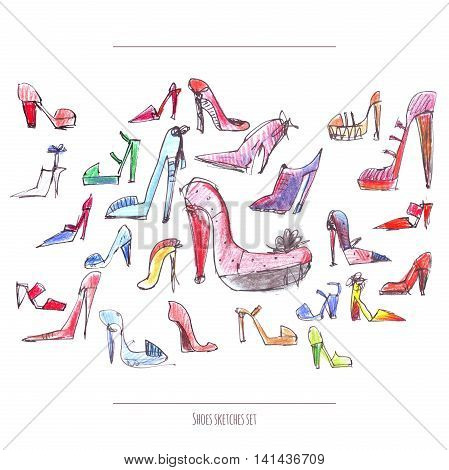 Isolated on white raster illustration with hand drawn in freehand style women shoes with high heels. Large sketch set drawn with ink and color pencils with red purple and blue main colors.