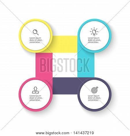 Business infographics. Diagram, chart, graph with 4 steps. Vector design element.