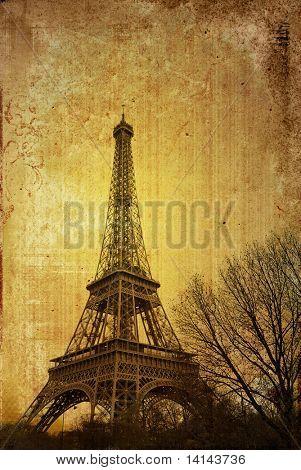 old-fashioned Eiffel Tower in nightfall - paris France