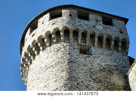 medieval Tower of the Visconteo castle in Vogogna Piedmont Italy