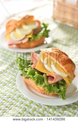 Overflowing Wheat crisp French bread crackers surface tight internal taste with muscle ham cheese eggs and green aroma of fresh vegetables