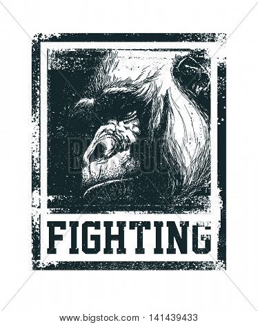 Monkey Face With Fighting Inscription Hand drawn T-shirt design Vector illustration.