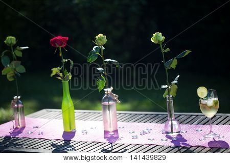 Hugo Cocktail with fresh roses on a garden table