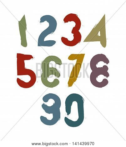 Calligraphic numbers drawn with ink brush colorful vector numbers collection.