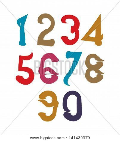 Handwritten colorful vector serif numbers stylish numbers set drawn with ink brush.