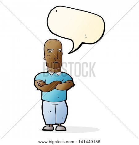 cartoon annoyed bald man with speech bubble