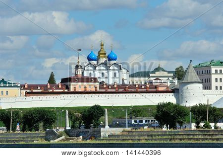 Kazan, Tatarstan, Russia - August 5, 2016. View of the left bank of the river Kazanka. Annunciation Cathedral. Kazan Kremlin.