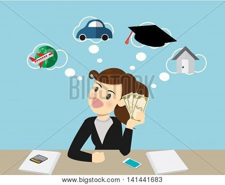 Happy smiling business woman holding dollars and thinking how to spent its. traveleducationbuying carloan house.Cartoon Illustration