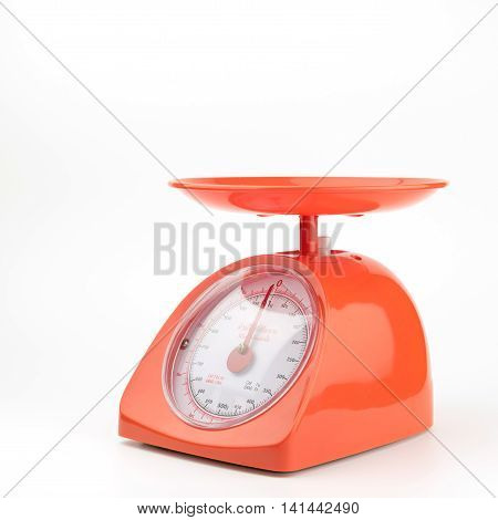 orange weight scale with clipping path balance, gray