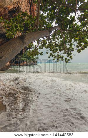 Phra Nang beach in rainy day in Krabi