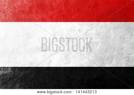 Flag Of Kuyavian-pomeranian Voivodeship, Poland, Painted On Leather Texture