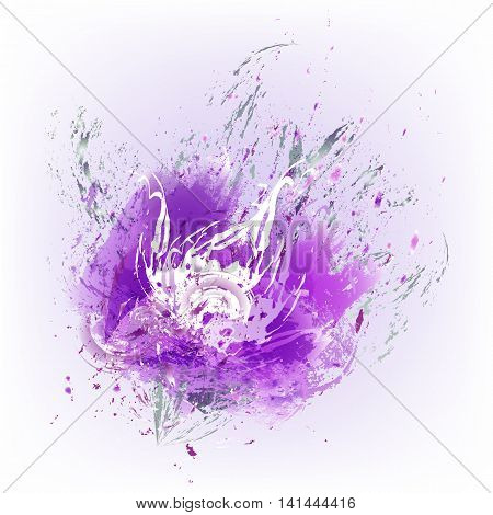 Beautiful pink flower. Styling with watercolor paint splashes. Element for your design.