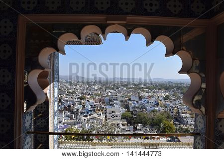 Aerial view of Udaipur from a window in City Palace, Rajasthan, India