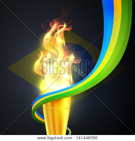 Glossy Golden Burning Torch with abstract waves on Brazilian Flag background for Sports concept.