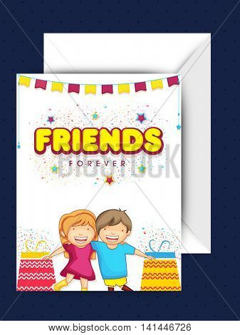 Stylish Text Friends Forever with Cute Kids and Gifts, Elegant Greeting Card design with Envelope for Happy Friendship Day celebration.