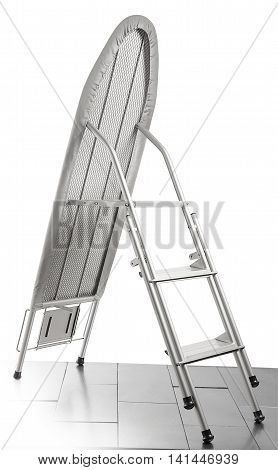 Folded Ironing gray board on white background