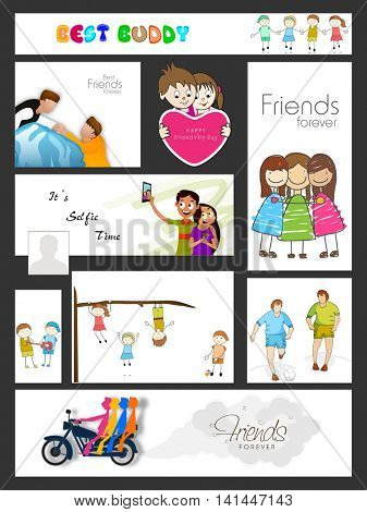 Social Media Post, Header or Banner set with cute cartoon characters for Happy Friendship Day celebration.
