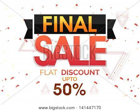 Final Sale with Flat 50% Discount Offer, Creative Poster, Banner or Flyer design, Vector illustration.