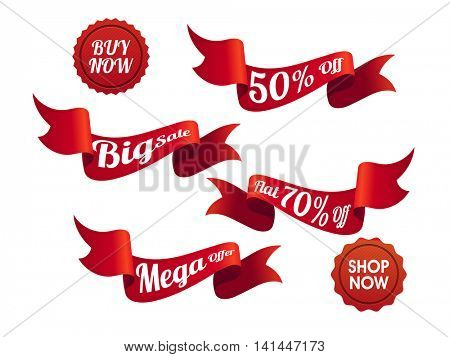 Glossy Red Ribbon, Sticker, Tag or Label set of Sale and Discount on white background.