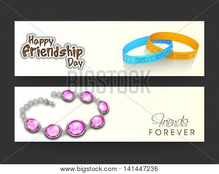 Stylish Website Header or Banner Set with beautiful Friends Forever Bands for Happy Friendship Day Celebration.