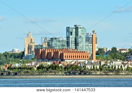 Kazan, Tatarstan, Russia - August 5, 2016.View of the left bank of the river Kazanka.  Kazan National Cultural Center. The residential complex