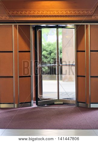 Revolving door on the entrance of the building