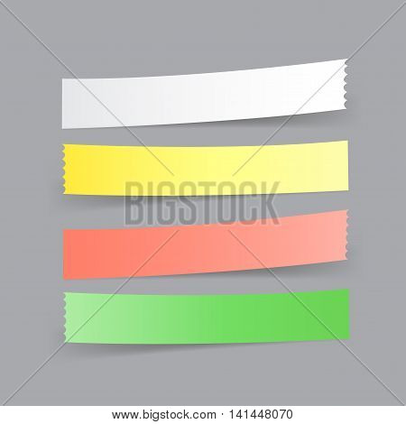 Navigation button. Paper menu option tapes with shadow on the gray background