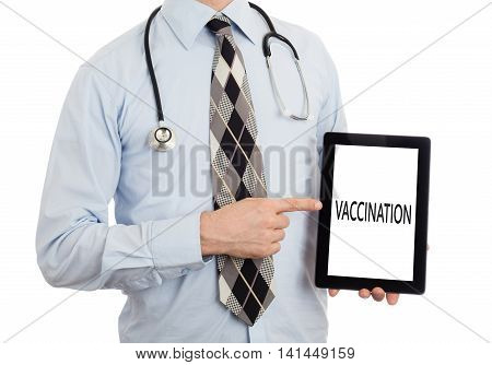 Doctor Holding Tablet - Vaccination