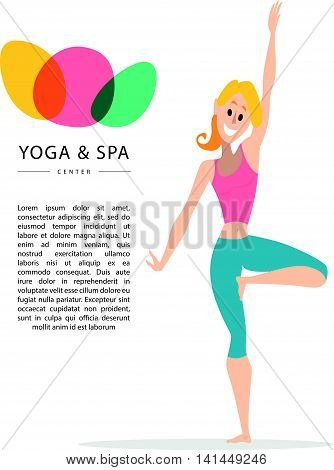 Flat friendly smiling girl, woman person character portrait. Smiling lady yoga instructor portrait isolated. Yoga and spa center logo. Lotus icon. Cartoon style. Human profession icon.