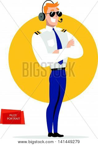 Flat friendly smiling person character portrait. Pilot portrait in uniform isolated. Cartoon style. Human profession icon. Handsome smiling man in sunglasses.