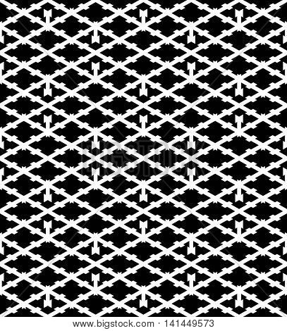 Black and white abstract textured geometric seamless pattern. Symmetric monochrome vector textile backdrop.