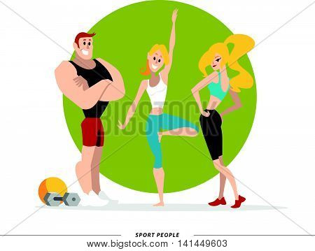 Flat profession characters. Human profession icon. Friendly, happy people portrait. Sport team, athlete group, healthy lifestyle set. Woman, girl, lady icon. Man, boy, guy icon. Cartoon style.