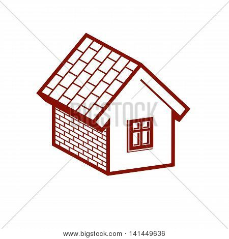 Simple mansion icon isolated on white background vector abstract house.