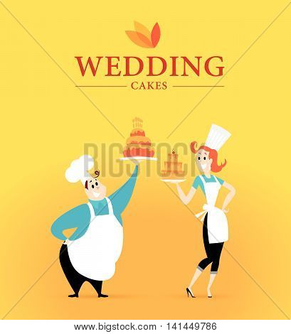 Flat profession characters. Friendly, happy people portrait. Wedding cake company logo, culinary team, work group, people set. Woman, girl, lady icon. Man, guy icon. Cartoon style.