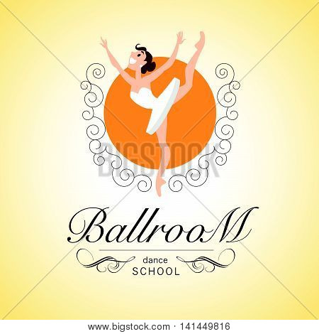 Flat profession character. Human profession icon. Friendly, happy ballerina portrait. Ballroom school dance logo design. Woman, girl, lady dancing icon. Cartoon style.